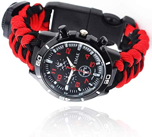 Flintstone brújula reloj tejido a mano cuerda reloj supervivencia SOS deportes al aire libre reloj azul negro-rojo negro