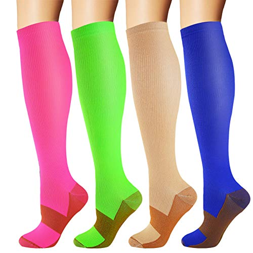 Copper Compression Socks for Men & Women 20-30 mmHg Medical Graduated Compression Stockings for Nurses Shin Splints Diabetic Sports Running Pregnancy (Red+Green+Nude+Blue, Large/X-Large)