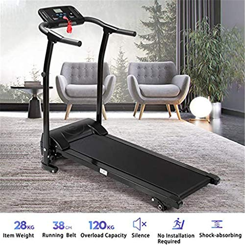 heavKin Electric Treadmill Home Fitness Equipment Shock-Absorbing Folding Ultra-Quiet with Blue-Tooth Speaker, Shipped from Overseas Warehouse (Silver, Size: 112×132×35cm/44×52×13.8in.) Nets