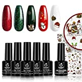 beetles Gel Nail Polish Set, Sparkle Red Green Gel Polish Kit Soak Off LED Gel Nail Kit Manicure Gift with Nail Strengthener Gel and Stickers
