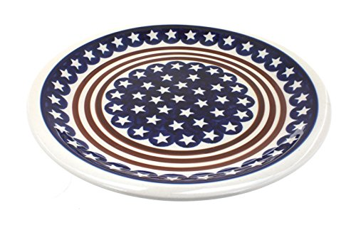 Polish Pottery 10¾-inch Dinner Plate (Stars And Stripes Foreve Theme) + Certificate of Authenticity