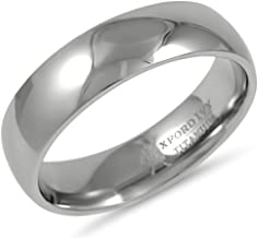 Oxford Ivy 6mm Mens Comfort Fit Titanium Plain Wedding Band (Available Ring Sizes 7-12 1/2)