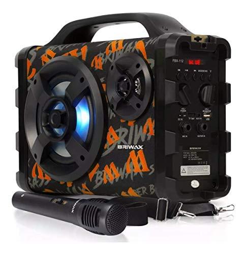 Caixa de Som 120w Amplificada com Bluetooth Gravadora com Microfone Fm P10 Usb P2 (Laranja)