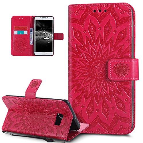 Ikasus® - Carcasa de piel sintética, con tapa, tarjetero, cierre magnético, compartimento y función atril para Samsung Galaxy S6 Edge Plus, con diseño de girasol, carcasa de silicona TPU flexible, roj