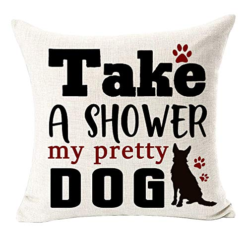 Take A Shower My Pretty Dog Paws Best Gift for Pet Dogs Cotton Linen Throw Pillow Covers Case Cushion Cover Sofa Decorative Square 18 inch (F)