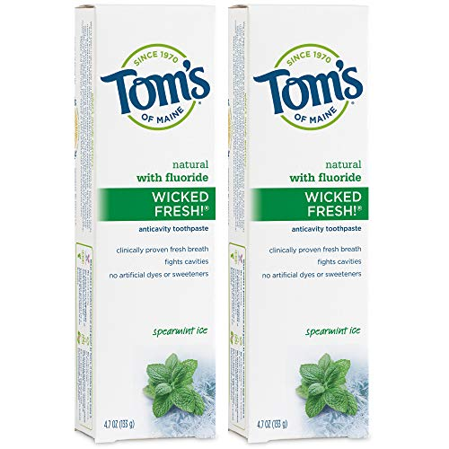 Tom's of Maine Natural Wicked Fresh! Fluoride-Toothpaste, Spearmint, 4.7 oz. 2-Pack