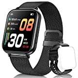 QAAEEDY Smart Watch for Android Phones iOS,Fitness Tracke with Heart Rate Blood Oxygen Sleep Monitor IP68 Waterproof Smart Watch Compatible iPhone Samsung Smart Watches for Women Men (Black)