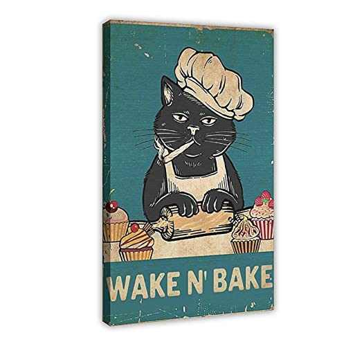 Wake N' Bake - Póster de lona con diseño de gato negro para hornear, decoración de dormitorio, deportes, paisaje, oficina, habitación, marco de regalo, 60 x 90 cm
