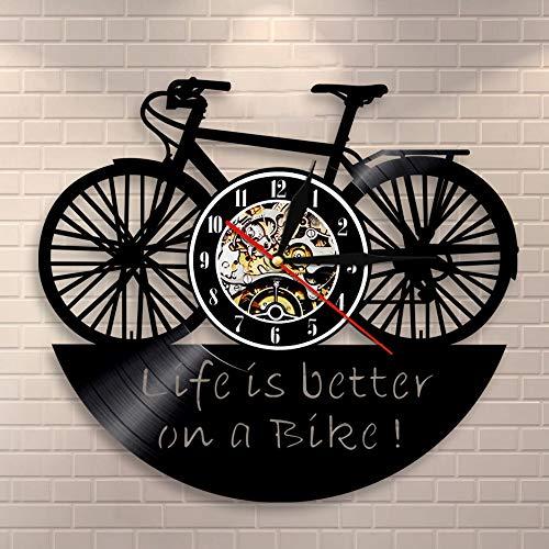 BFMBCHDJ Motorradfahrer Motto Biker Home Decor Kunst Leben ist besser auf einem Fahrrad Retro Vinyl Schallplatte Wanduhr Fahrrad Radfahrer Wanduhr Mit LED 12 Zoll
