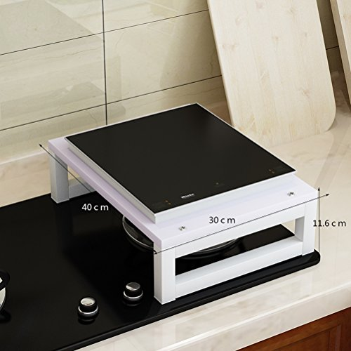 WLH- Cooker Bracket subset pakking Kitchen Shelf Natural Gas Gasfornuis rekafdekking Magnetron Rack (40x30x11.6cm) (Color : White)