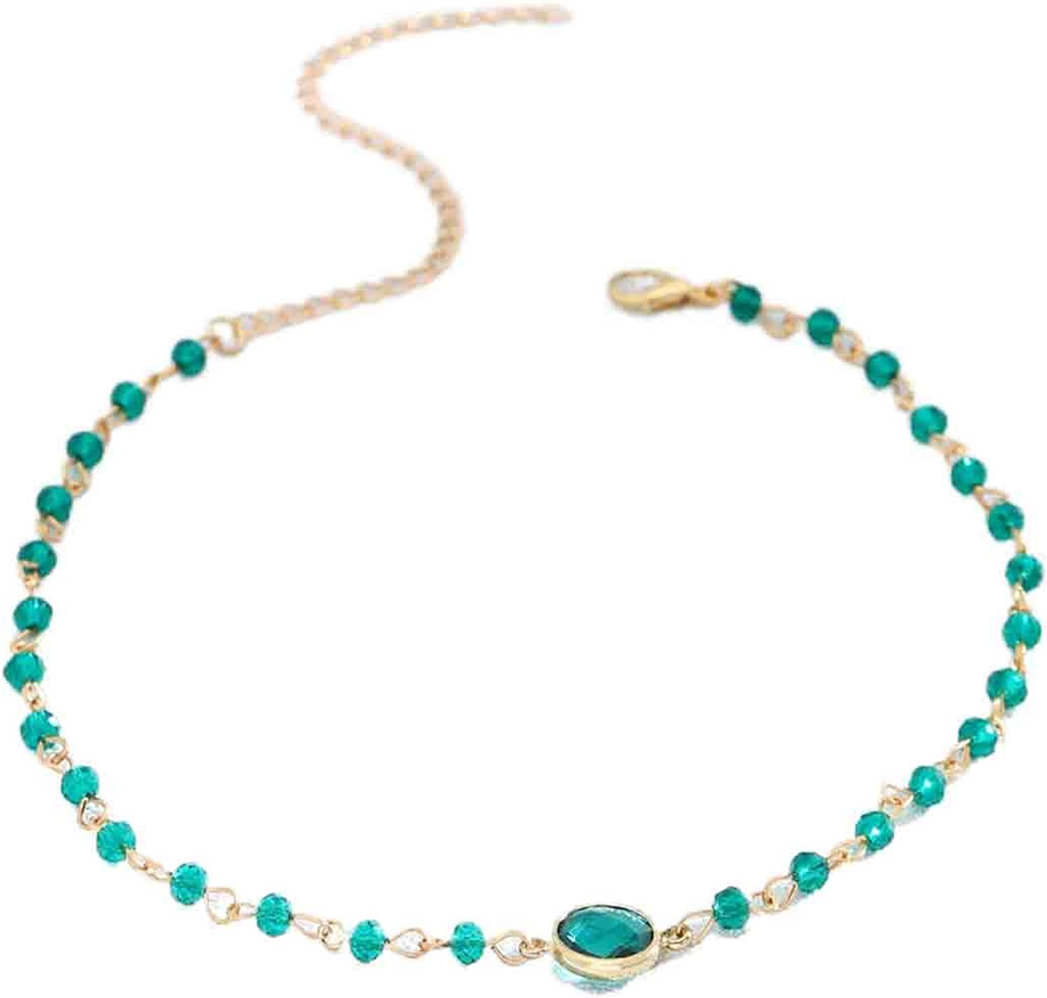 Olbye Rainbow Moonstone Necklace Choker Simple Necklace Personalize Everyday Necklace Jewelry for Women and Girls