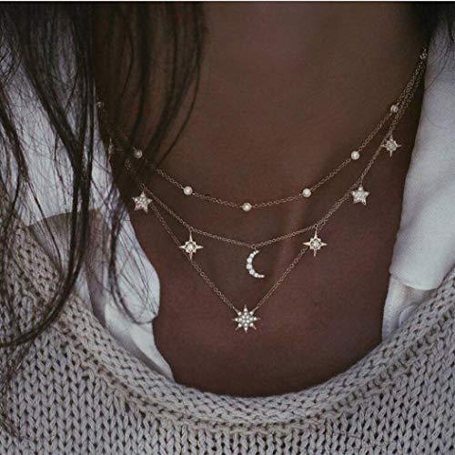 Simsly BohoTassel collar de estrellas de oro multicapa collar gargantilla media luna colgante collar joyería ajustable para mujeres y niñas