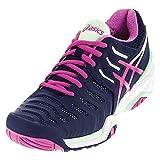 ASICS Women's Gel-Resolution 7 Tennis Shoe, Indigo Blue/Pink Glow/Paradise Green, 8 M US