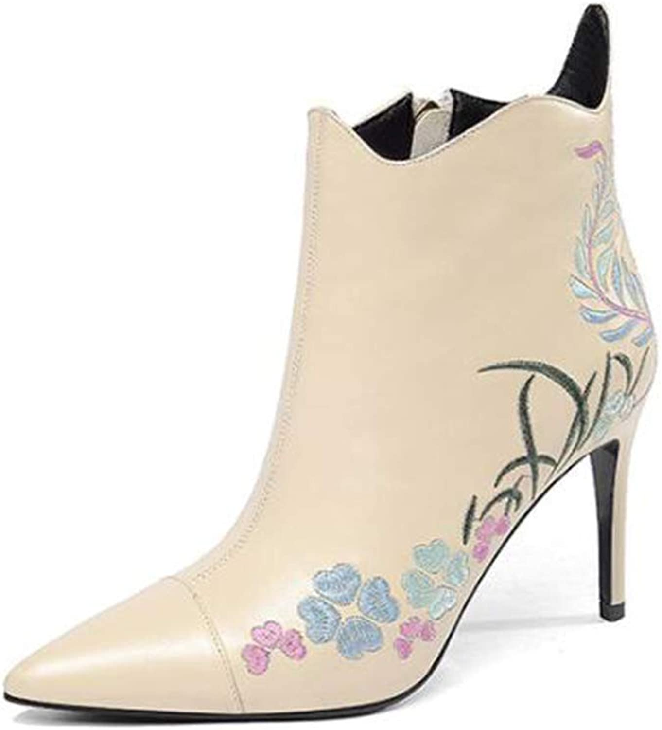 Women's Booties, Embroidered Zipper Leather Fashion Boots Ladies Pointed Stiletto Heel Sexy Booties (color   B, Size   39)