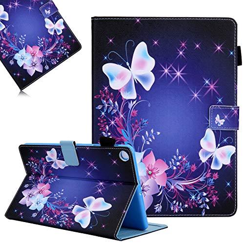 Hülle für Samsung Galaxy Tab A7 10,4 Zoll 2020 (SM-T500 / T505), LCHDA Gemalt PU Ledertasche Leicht Smart Cover Folio Klapp Ständer Magnetisch Schutzhülle mit Auto Schlaf/Wachen - Bunte Schmetterling