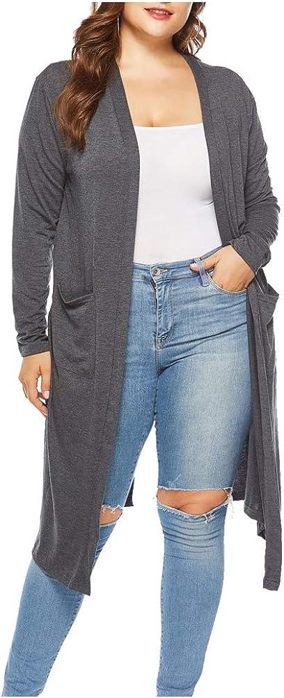 Durcoo Women's Plus Size Long Sleeve Tassel Cardigan Open High Low Knit Sweater