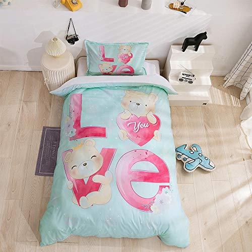 Qiuka Muchacha 1 Funda Nordica 140x200cm + 2 Fundas de Almohada 48x74cm,Niños Dormitorio Rosa Ropa de Cama Infantil de Microfibr, Juego de Ropa de Cama Cierre con Cremallera