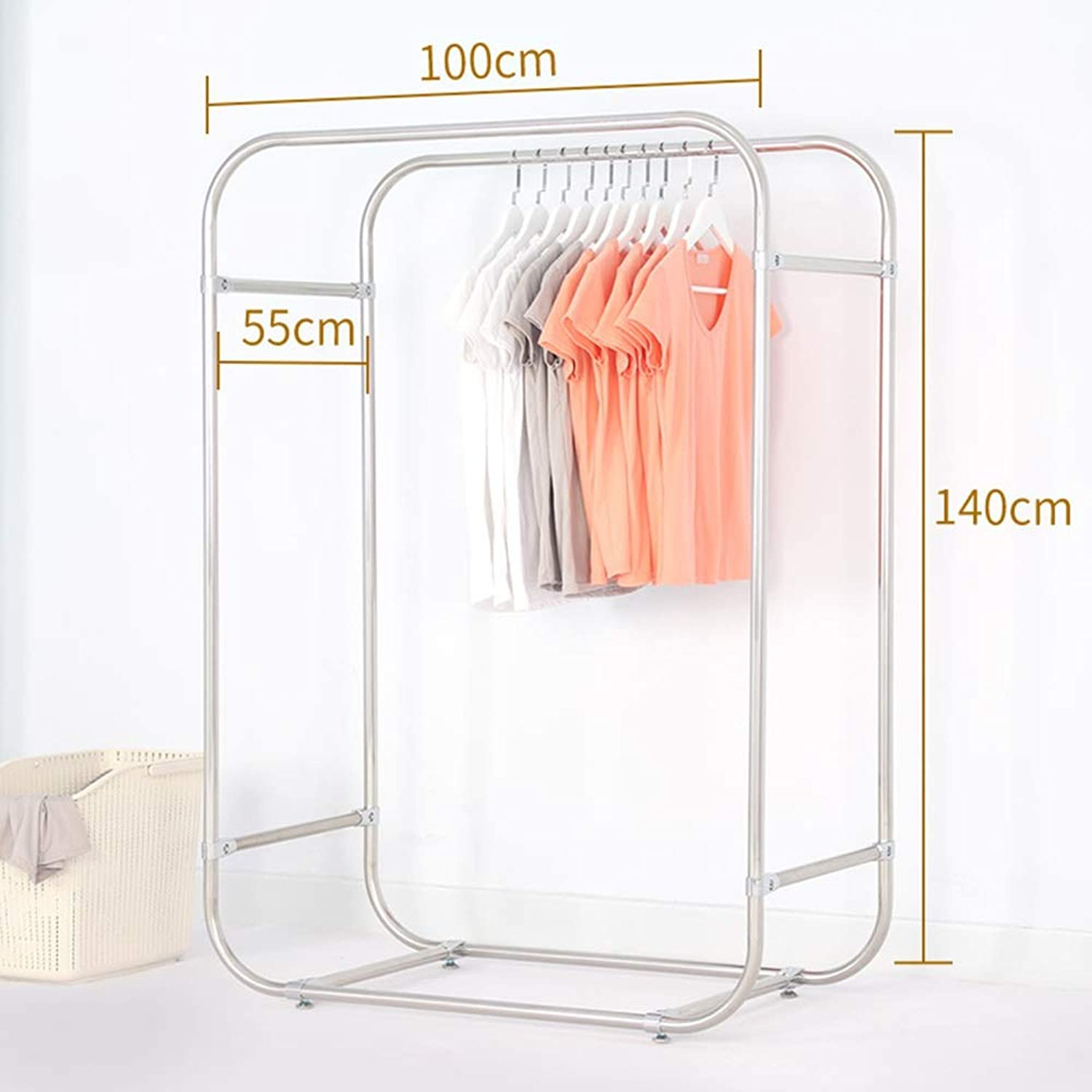 JIAYING Coat Rack, Floor-Standing Stainless Steel Drying Rack Indoor Drying Rack Balcony Double Rod Simple Hanger Coat Rack Multi-Size Selection (Size   100×140cm)