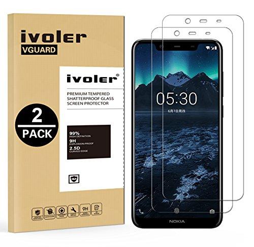 ivoler [2 Stücke] Panzerglas Schutzfolie für Nokia 5.1 Plus/Nokia X5 [9H Festigkeit] [Anti- Kratzer] [Bläschenfrei] [2.5D R&e Kante]