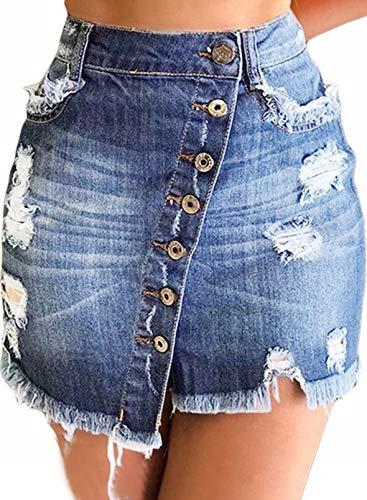 CORAFRITZ Falda vaquera de talle alto para mujer, corte ajustado, oblicuo, botton Bodycon