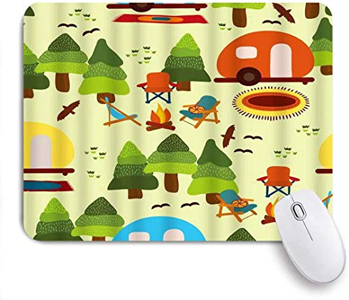Gaming Mouse Pad Rutschfeste Gummibasis, Camp Szene Bäume Caravan Camping Stühle Kamin Teppiche Vögel Wald Natur Lustig, für Computer Laptop Schreibtisch