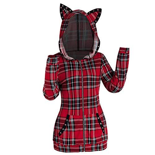SIOPEW Kapuzenpullover Damen Schwarz Winter Langarm Retro Gitter Colorblock Katzenohren Kapuze Sweatshirt Tasche Fleece Hoodie Tops
