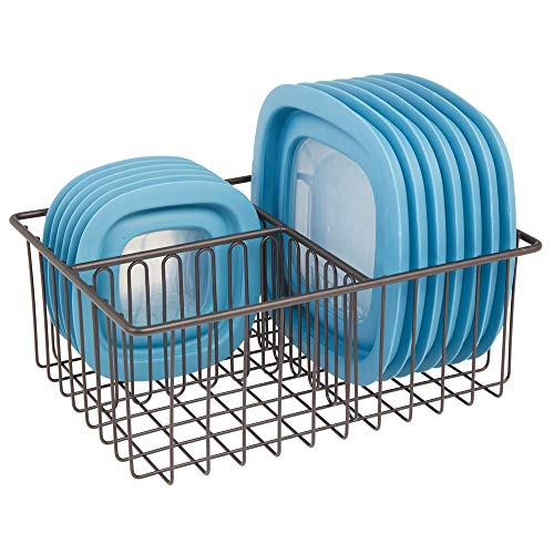 mDesign - Contenedor de metal para almacenamiento de alimentos de cocina, organizador de 3 compartimentos para organizar en armarios de cocina, armarios, estantes de despensa,...