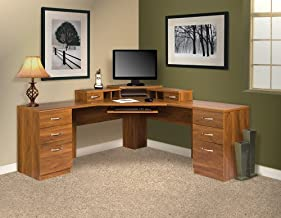 l shaped desk with monitor platform
