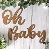 Wood Oh Baby Sign, Gold Party Banner for Baby Shower Decorations, Birthday Party, Gender Reveal Backdrop, Wall Decor by QIFU