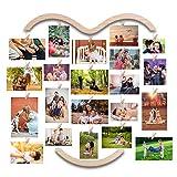 EASTERNSTAR Cornice Foto Family Collage Cuore Portafoto Multiplo, Cornici Collage Foto Portafoto da Parete Multiplo Legno per Decorazione 25 da 29 Pollici con 30 Porta Foto mollette (64CM* 74CM)
