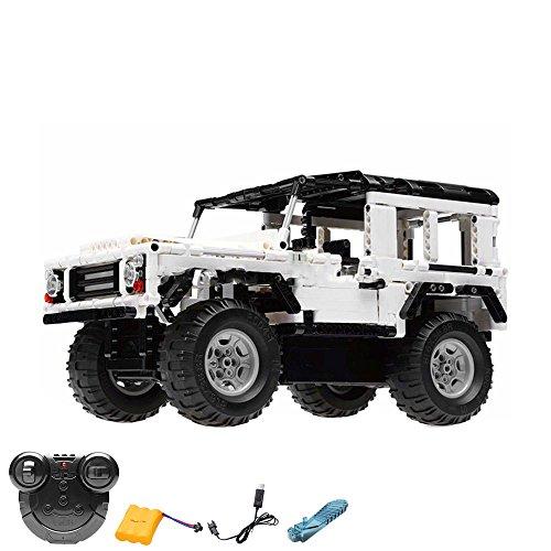 2.4GHz RC Steckbausatz Konstruktion DIY ferngesteuerter Jeep Truck aus Bausteinen zum Selberbauen Basteln, 2.4GHz Fernsteuerung, Block Building Fahrzeug,Auto,Car, Komplett-Set Inkl. Akku und Ladegerät