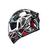 QIQI Casco de Motocicleta Unisex-Adulto Motocicleta de Doble Visor Casco Modular Modular de Cara Completa, Casco de Moto de Nieve Normas de Seguridad Dot,Wsz,L