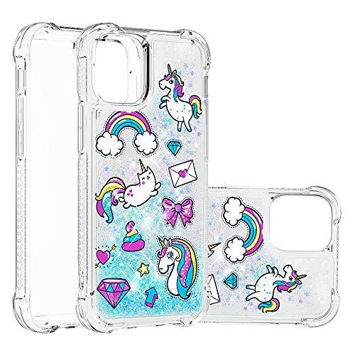 Miagon Flüssig Hülle für iPhone 12 Pro,Glitzer Weich Treibsand Handyhülle Glitter Quicksand Silikon TPU Bumper Schutzhülle Case Cover-Pferdebrief