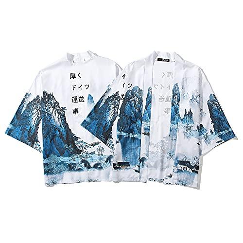 WYUKN Haori Jacket - Kimono para hombre, kimono para hombre, camisa japonesa de playa, talla grande