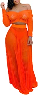 Ptyhk RG Women's Pleated Long Sleeved 2PCS Sets Mesh Long Off Shoulder Crop-Top Skirt Sets