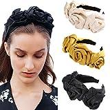WELROG Gepolstert Stirnbänder Frauen Dick Samt 90s Haar Zubehör Kopfband Spanisch Jahrgang Stil Alice Haarband (Ingwer gelb + schwarz + beige)