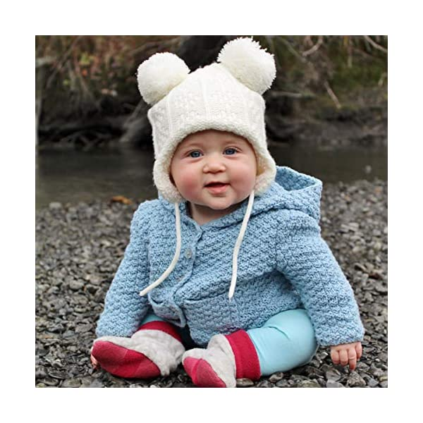 JAN & JUL Baby Toddler Winter Beanie Bear Hat Earflap Fleece Lined, Knit Mittens or Hat & Mittens Set