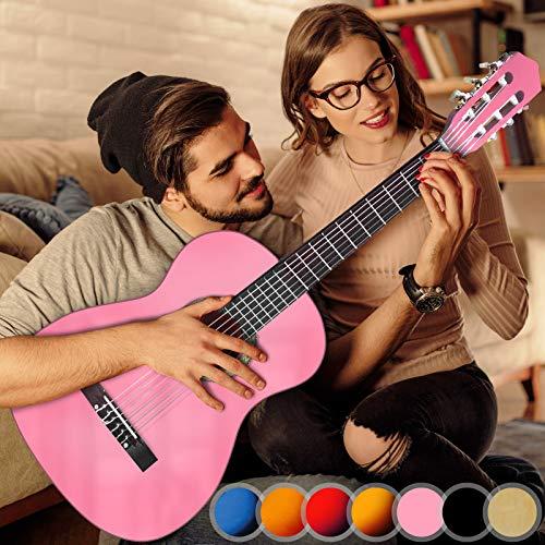 Akustikgitarre - 4/4, aus Holz, 40 Zoll, 6 Saiten, Pink - Konzertgitarre, Klassikgitarre, Gitarre, Westerngitarre für Einsteiger, Jugendliche und Erwachsene