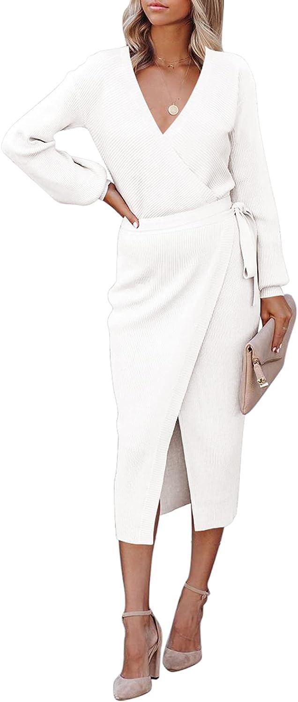 Meenew Women's Wrap V Neck Sweater Dress Tie Waist Bodycon Knit Midi Dress