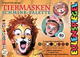 Eulenspiegel 208038 - Tiermasken Schmink-Palette, 8 Profi-Aqua Farben, 1 Schwamm, 1 Pinsel, 1 Schminkanleitung