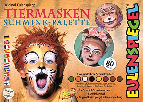 Eulenspiegel 208038 Tiermasken Schminkset, 8 Farben, 22,4 x 15,7 x 3,6 cm