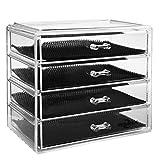 Boîte à Bijoux, Cosmétiques Organisateur Grand Rangement 4 Niveaux Maquillage - 4 tiroirs et séparateurs Amovibles - Acrylique