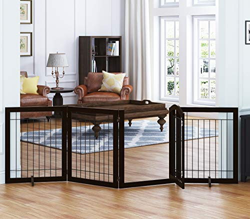 SPIRICH 96-inch Extra Wide 30-inches Tall Dog gate with Door Walk Through, Freestanding Wire Pet Gate for The House, Doorway, Stairs, Pet Puppy Safety Fence, Support Feet Included(Espresso)