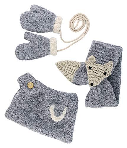 DEMU 3-delige gebreide muts kindermuts beanie sjaal halsdoeken handschoenen set wanten