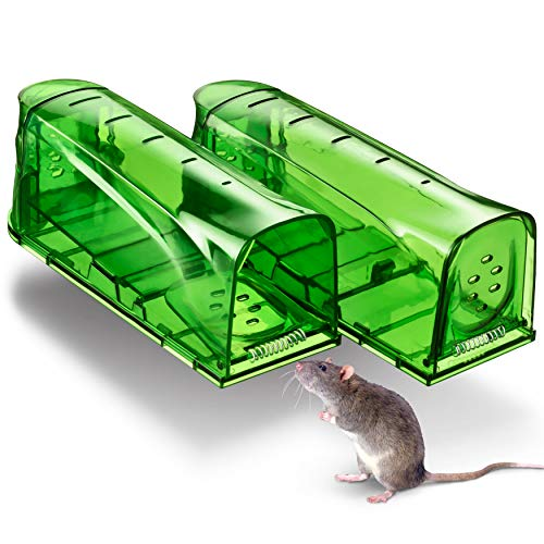 Trazon Humane Mouse Traps Catch and Release That Work - Mouse Traps No Kill - Live Mouse Traps - Reusable Mouse Traps for House,Garage,Outside,Small Mice,Multiple Mice - 2 Pack