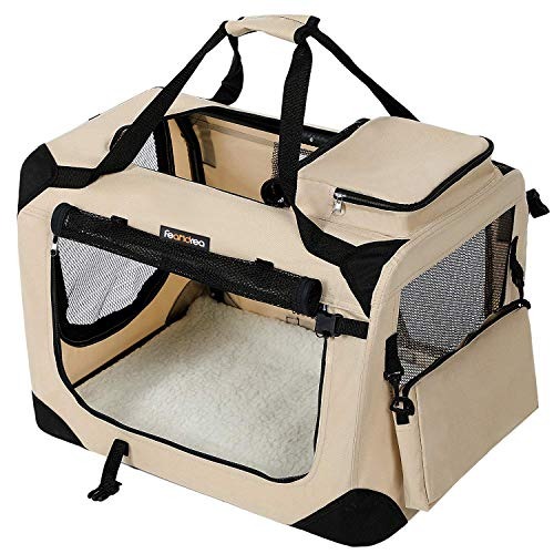 FEANDREA Hundebox Transportbox Auto Hundetransportbox faltbar Katzenbox Oxford Gewebe Beige 70 x 52 x 52 cm PDC70W