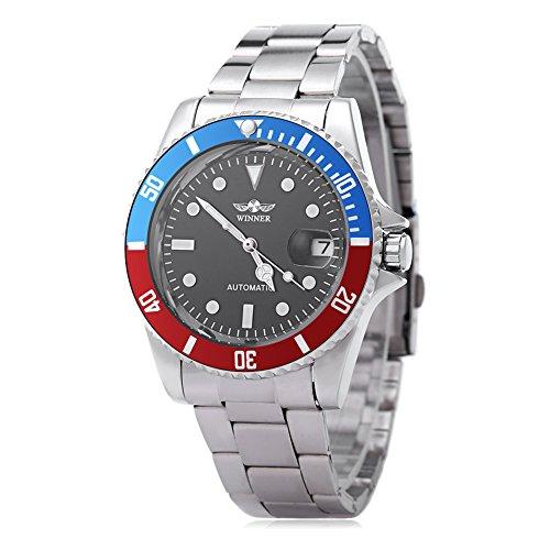 Leopard Shop WINNER W042602 - Reloj de Pulsera para Hombre, automático, mecánico, Luminoso, Fecha, Transparente, Tapa Trasera # 1