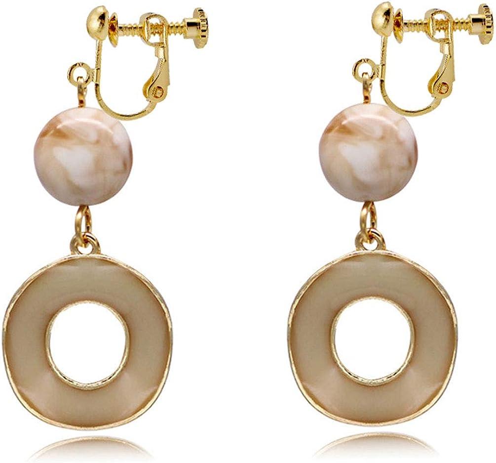 Clip on Earrings Circle Stone Drop Dangle Earring Round Enamel White Women Gold tone Prom Fashion Jewelry