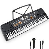 Teclat Piano 61 Tecles Teclat de Piano Portàtil Principiants Teclat electrònic piano Amb Faristol, Micròfon