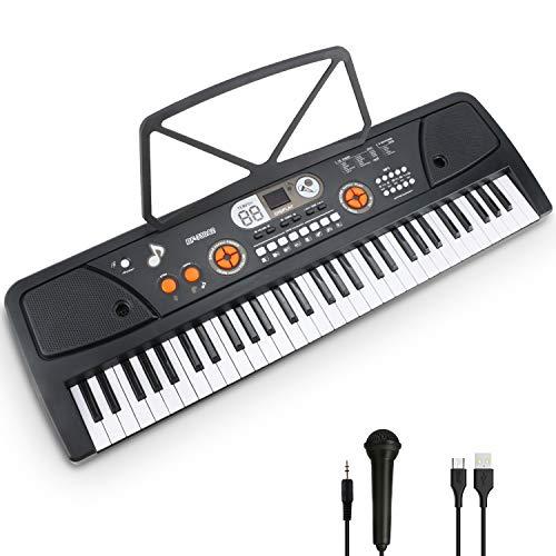 Elektronische Klaviertastatur 61 Tasten mit LCD-Display & Mikrofon Multifunktions Tragbare Elektronische Musikinstrument und Einsteiger
